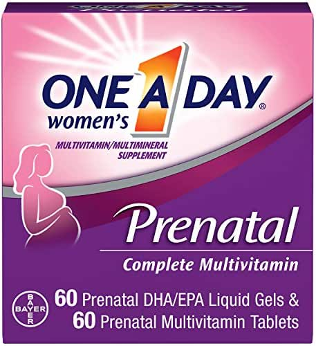 One A Day Women's Prenatal Multivitamin Two Pill Formula, Supplement for Before, During, and Post Pregnancy, Including Vitamins A, C, D, E, B6, B12, Folic Acid, and Omega-3 DHA, 60+60 Count