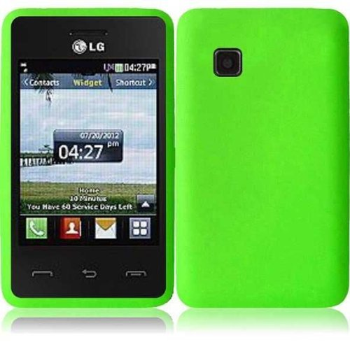 For Tracfone LG 840G LG840G Silicone Jelly Skin Cover Case Green