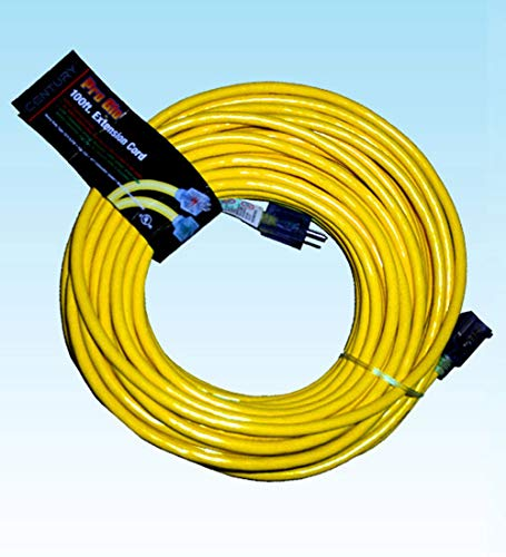 (JL Medium-Duty Extension Cord for Carpet Extractors High Speed Buffers 14/3 Pro Glo Yellow 100')