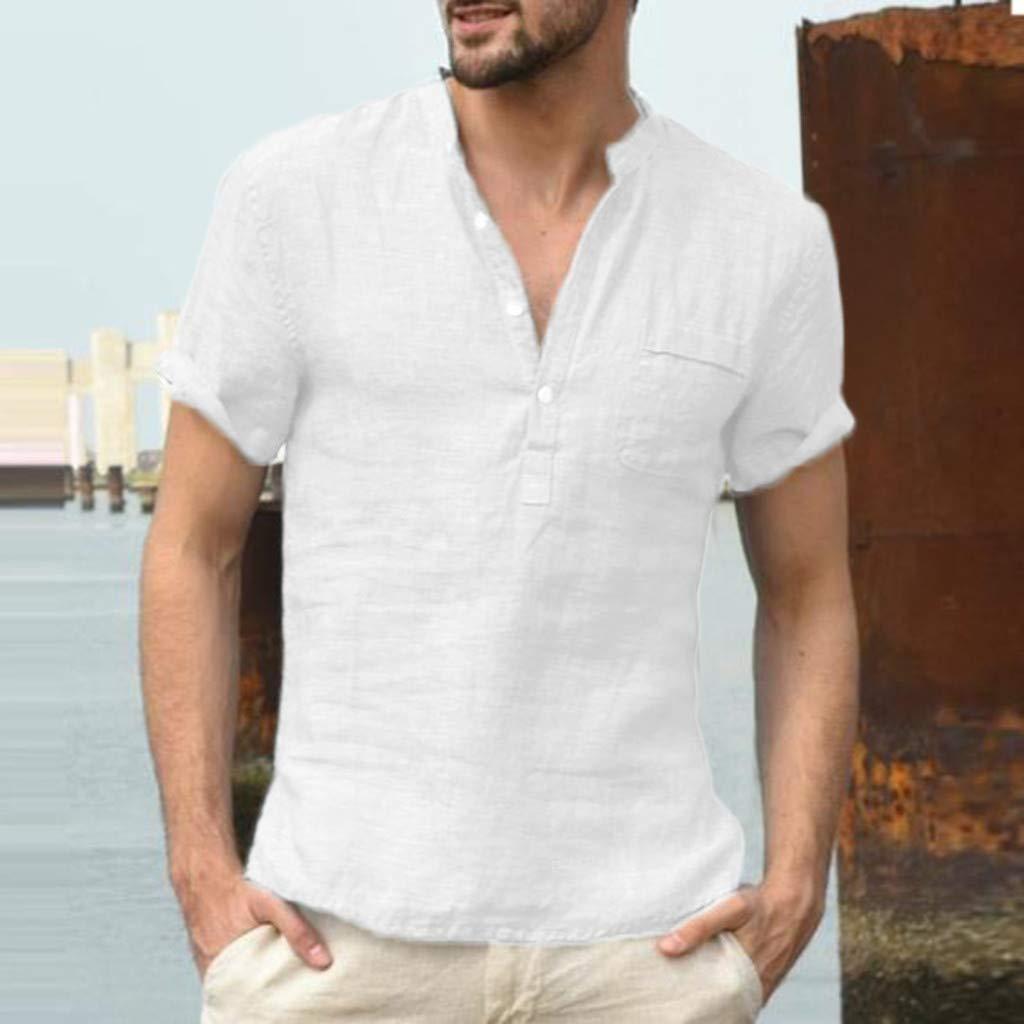 Camiseta de Hombres,RETUROM Hombre Algod/ón Lino Color s/ólido Camisetas Blusa