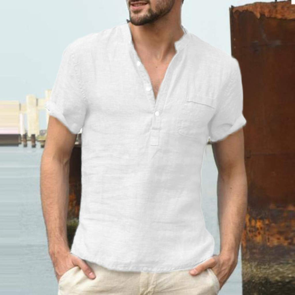 Corriee 2019 Gift Idea Men's Solid Color Cotton Linen Button Up Loose Fit Short Sleeve Shirt Pullover Tops Blouses White by Corriee (Image #2)