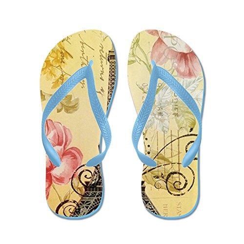 CafePress Floral Paris Eiffel Tower Roses - Flip Flops, Funny Thong Sandals, Beach Sandals Caribbean Blue