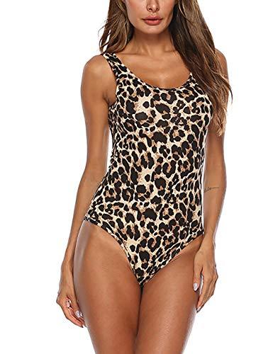 Queen.M Women's Sexy Bodysuit Leopard Snake Skin Leotard Tank Top Sleeveless Scoop Neck Bodycon Jumpsuit Onesie -