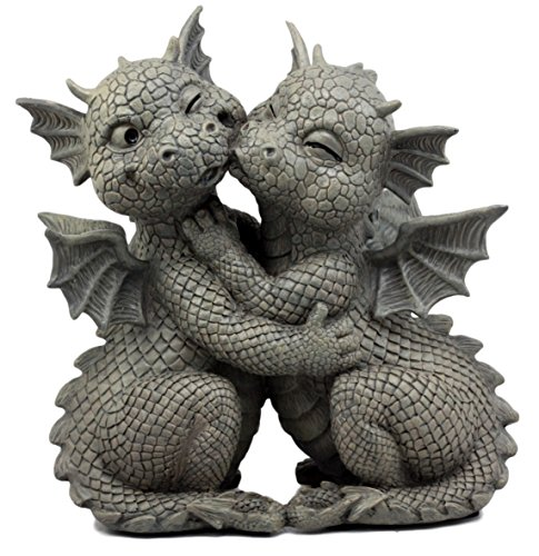 Ebros Gift Fiery Romance Hatchling Dragon Lovers Garden Statue Faux Stone Resin Finish 10