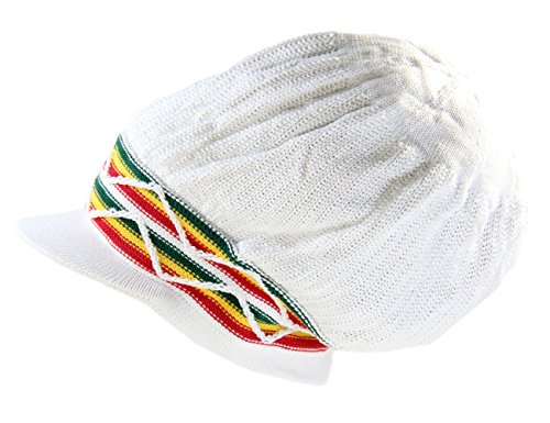 Wave Rasta Beanies - RW 100% Cotton Rasta Dreadlock Wave Beanie Visor (White/Rasta)