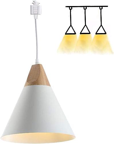 H-Style Track Mount Pendant Fixture White Scandinavian Style Pendant Lights for Kitchen Hanging Lamp – Modern Wood and Aluminium Light