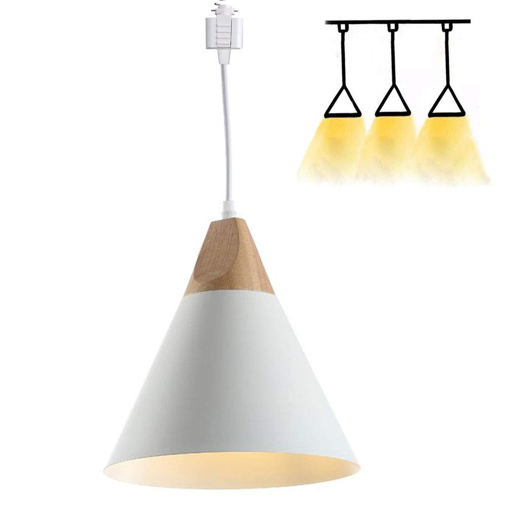 H-Style Track Mount Pendant Fixture White Scandinavian Style Pendant Lights for Kitchen Hanging Lamp - Modern Wood and Aluminium Light