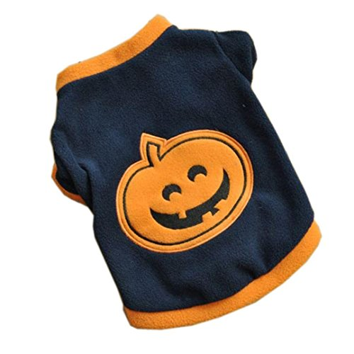 BEAUTYVAN Dog Clothes, Cute Halloween Pumpkin Puppy T-Shirts Fleece Warm Clothes (M, Navy) ()