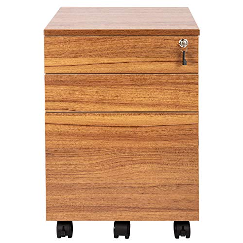 TOPSKY 3 Drawers Wood Mobile File Cabinet Fully Assembled Except Casters (Oak Brown Letter Size) by TOPSKY (Image #2)