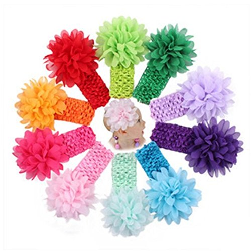 10Pcs Baby Girl's Multicolor Elastic Headbands Chiffon Flowers Hair (Acetate Tie)