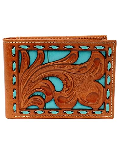 Nocona Nocona Pierced Men's Men's Overlay Bifold Wallet Floral Blue 55Pprwq