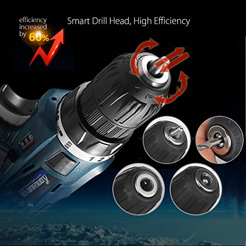 Farway Li-Ion Cordless Electric Drills Hammer Power 25V Driver Hand Kit 2 Speed LED by Farway (Image #4)
