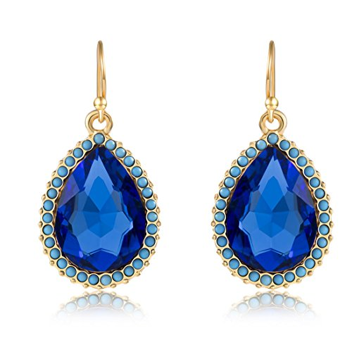 Boho Diamond Dangle Earrings Antique Rounnd BeadsTeardrop Earrings Sets for Women (Diamond Shaped Turquoise Post Earrings)