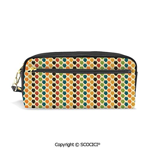 PU Leather Student Pencil Bag Multi Function Pen Pouch Retro Styled Colorful Animal Silhouettes with Grunge Display Halloween Inspirations Decorative Office Organizer Case Cosmetic Makeup Bag]()