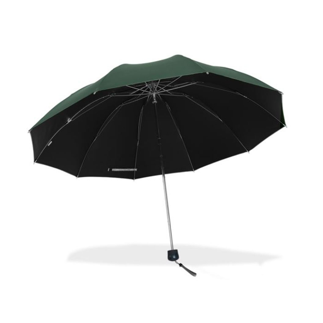 Travel Foldable Umbrella with 10 steel ribs Windproof Compact Lightweight Fast Dry for women and men (dark green) by Aviss