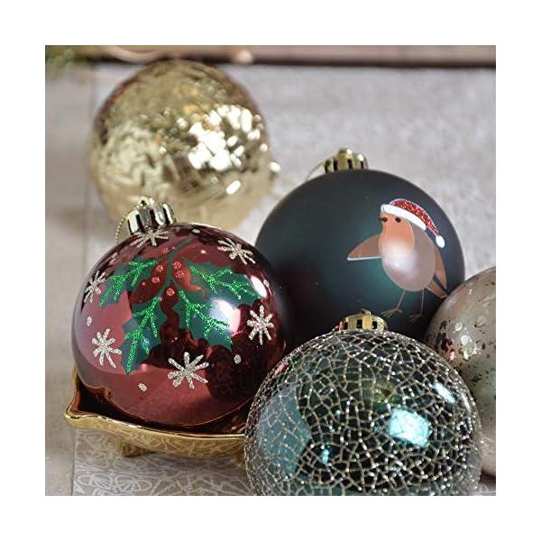 Valery Madelyn Palle di Natale 16 Pezzi 8 cm Palline di Natale, Strada di Campagna Rosso Verde e Oro Infrangibile Ornamenti Palla di Natale Decorazione per Albero di Natale Decor 5 spesavip