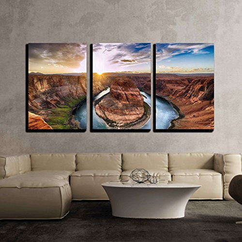 Wall26   3 Piece Canvas Wall Art   Sunset Moment At Horseshoe Bend  Colorado River  Grand Canyon National Park  Arizona Usa   Modern Home Decor Stretched And Framed Ready To Hang   24 X36 X3 Panels