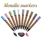 Premium Metallic Paint Art Markers Set For DIY Painting Projects | Glossy & Bright Metal Colors | Perfect For Coloring Glass, Rock, Metal,Paper, Calligraphy & Gift Cards | 10 Medium-Tip Paint Pens