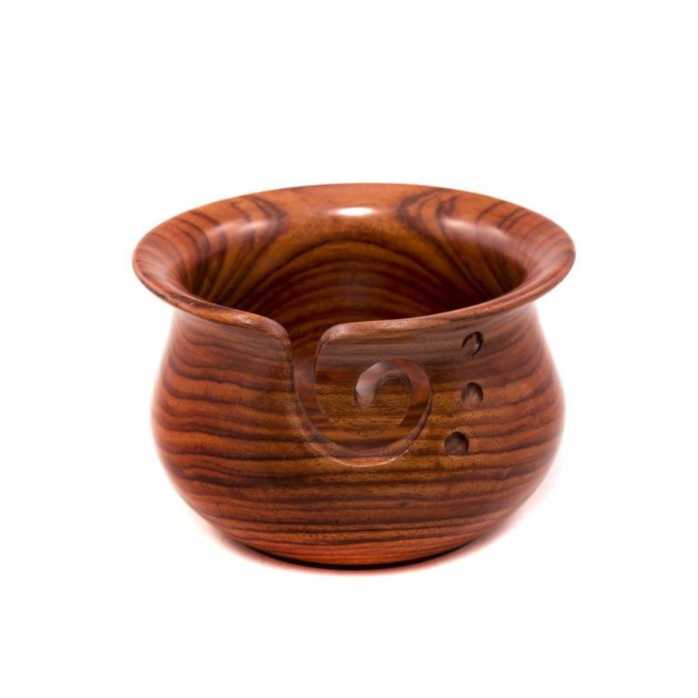 Darn Good Yarn Curvy Handmade Wooden Yarn Bowl, Indian Rosewood, 4 inch x 6 inch