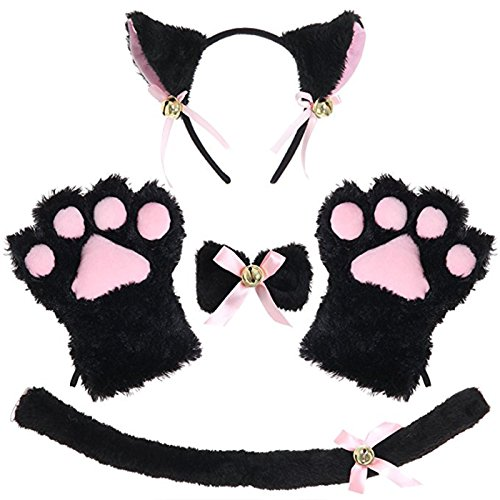 Kitty Cat Cosplay Set Ears Tail Collar Paws Hallowmas Accessory (black)