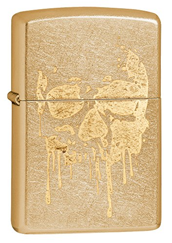 Zippo Grunge Skull Pocket Lighter, Gold Dust