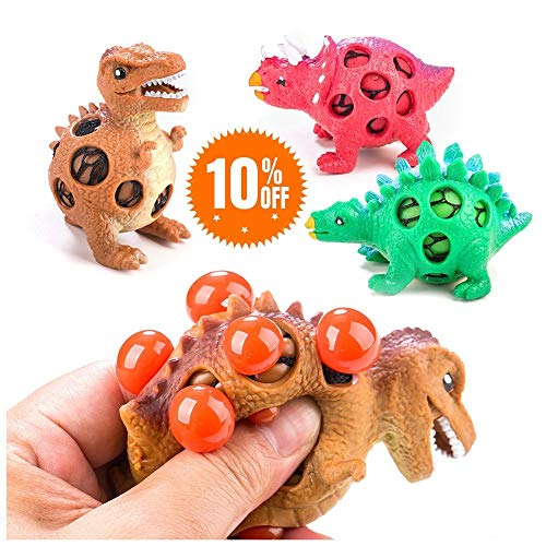 Lemostaar Dinosaur Stress Relief Toys for Kids and Adults: Best Stress Reduction Toy - 3 Dinosaur Stress Balls in 1 Pack Idea, Adorable Kids, Fun & Soft Novelty Pressure -