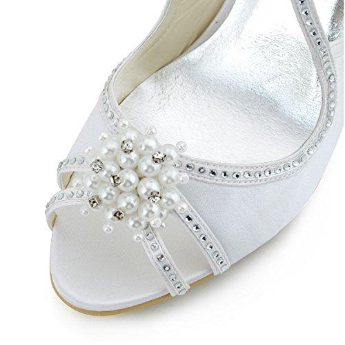 Elegantpark - Bailarinas de satén para mujer Blanco - blanco