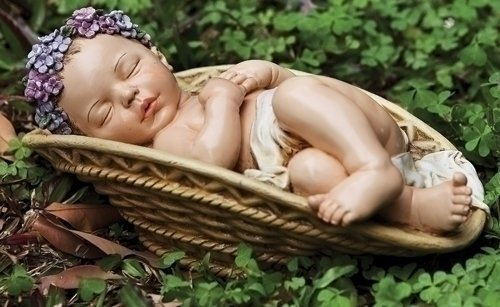 Josephs Studio Garden Figure, 64422, Baby with Floral Crown Lying in a Basket, 11 inches wide