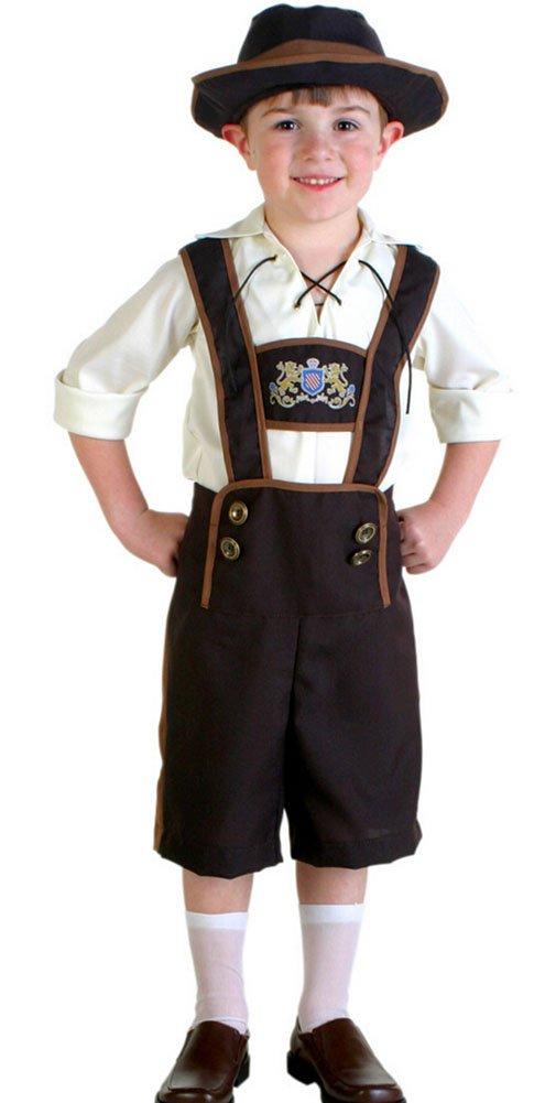 Oktoberfest Costume Bavarian Kids Uniform Lederhosen Shorts with shirt and Hat Small