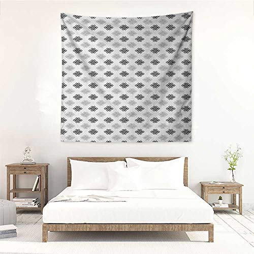 Tattoo DIY Tapestry Intricate Geometrical Motifs Knots in Greyscale Pattern Esoteric Zen Charm Symbols Occlusion Cloth Painting 70W x 70L INCH Grey White ()