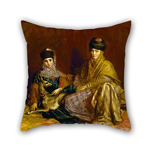 Artistdecor 16 X 16 Inches / 40 By 40 Cm Oil Painting Théodore Chassériau - Woman And Little Girl Of Constantine With A Gazelle Pillowcover ,double Sides Ornament And Gift To Dance Room,dinning Ro