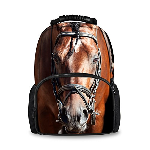 Horse Head Pattern - Coloranimal Fashion 3D Animal Horse Head Pattern Backpacks for Girls