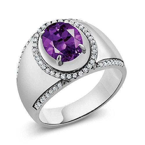 Oval Purple Amethyst 925 Sterling Silver Men's Ring