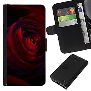 KLONGSHOP // Tirón de la caja Cartera de cuero con ranuras para tarjetas - Negro Rojo Oscuro Rosa flor de los pétalos - LG OPTIMUS L90 //