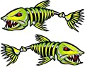 2 pieces SET #4 | Kayak Decals Fish Bones Skeleton Stickers for Kayak Canoe Fishing Boat Wall Car Accessories