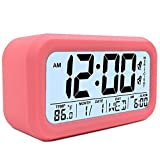 TXL Large LCD Digital Alarm Clock 4.7'' Kids Bedside Clock Battery Operated with Snooze&Light Touchpad Function/2 Alarms/Temperature Electronic Desk&Shelf Clock for Childrens/Seniors/Teens Dorm-Pink