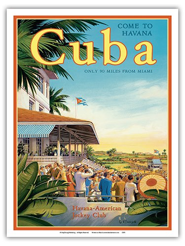 - Come to Havana, Cuba - Oriental Park Racetrack, Marianao - Havana-American Jockey Club - Vintage Style World Travel Poster by Kerne Erickson - Master Art Print - 9in x 12in