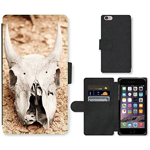 "Just Phone Cases PU Leather Flip Custodia Protettiva Case Cover per // M00128016 Crâne d'animal aride os mort Morte // Apple iPhone 6 PLUS 5.5"""