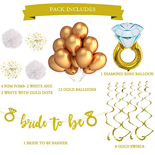 (White and Gold Bachelorette Party Decorations and Accessories. For a Classy Bridal Shower or Engagement Party. With a Stunning Bride to Be)