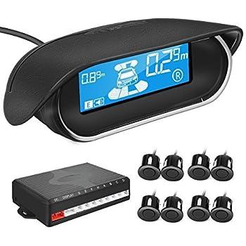TVIRD LED Display Car Reverse Backup Radar with 8 Parking Sensors Car Auto sounds warming Buzzer BiBi Alarm Indicator (black)