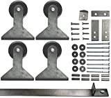 Double Sliding Barn Door Hardware Kit Top Mount Design with 8 Ft. Track Included - Made in USA