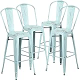 "Flash Furniture 4 Pk. 30"" High Distressed Green-Blue Metal Indoor-Outdoor Barstool with Back Review"