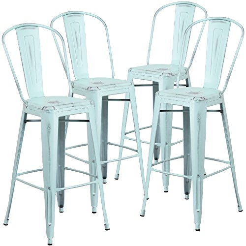 Flash Furniture 4 Pk. 30'' High Distressed Green-Blue Metal Indoor-Outdoor Barstool with Back
