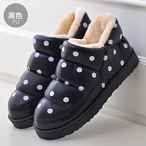 Piume fankou invernale impermeabile Cartoon carino il cotone pantofole pacchetto al coperto a caldo con fondo spesso giovane maschio e femmina home pantofole, 39-40 adatto per 38-39, L