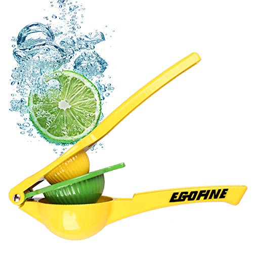 Egofine Metal Lemon Lime Squeezer, Premium Quality Manual Citrus Press Juicer, Yellow