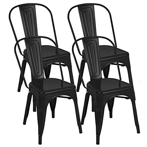 Bonzy Home Metal Dining Chairs Stackable Side Chairs With Back Indoor Outdoor Use Chair For Farmhouse Patio Restaurant Kitchen Set Of 4 Black Buy Online In Bahamas At Desertcart