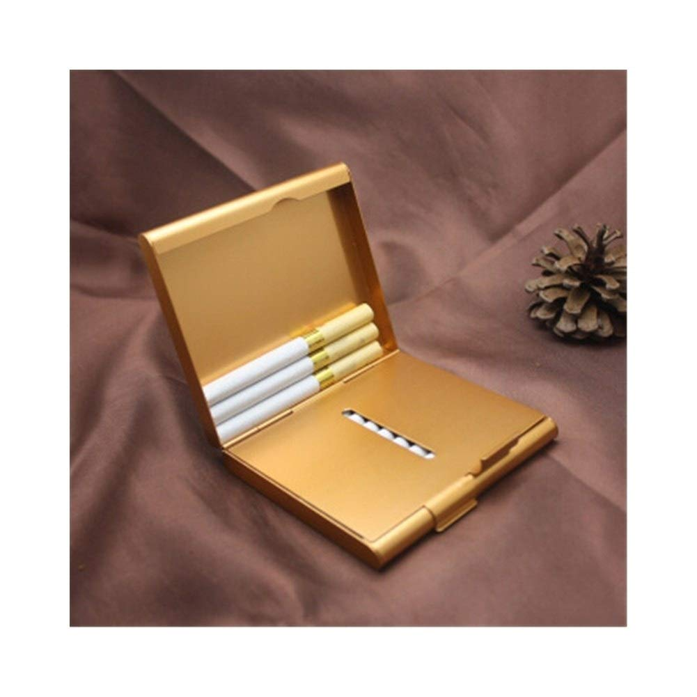 WENPINHUI Cigarette Case, 20 Sticks of Portable Metal Thin Double Open Cigarette Case, Stainless Steel Cigarette Holder, Best Gift (Color : Gold) by WENPINHUI