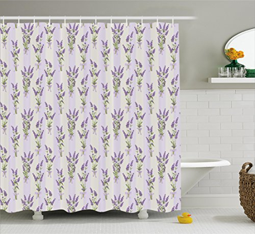 Spring Home Easter Decor (Ambesonne Lavender Shower Curtain Set, Stripes and Flowers with Ribbons Romantic Country Home Decorations Spring Season Design, Fabric Bathroom Decor with Hooks, 75 inches Long, Purple)