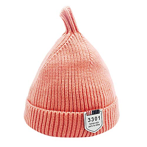 Price comparison product image SUJING Baby Winter Ribbed Knit Pompoms Chunky Lined Beanie Hats Toddler Soft Knit Hat Warm Baby Knit Hat (Pink)