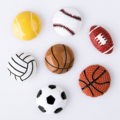 Pack of 7 Sport Fridge Magnet Basketball Football Volleyball Tennis Baseball Home Decoration Children Early Education Small Size 2-3cm (Football Refrigerator)